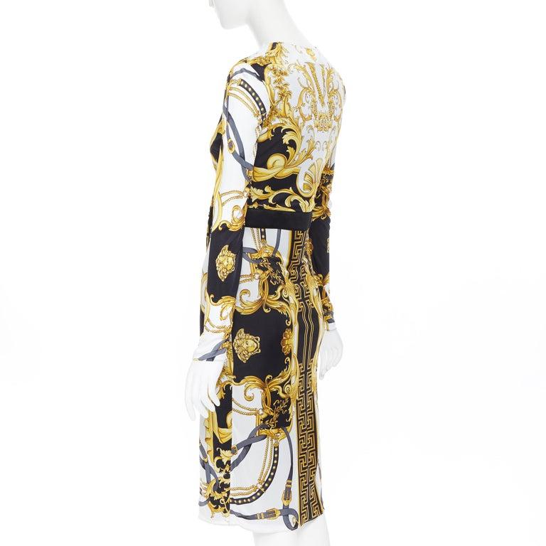new VERSACE black gold baroque bondage strap virtus print wrap dress IT38 For Sale 1