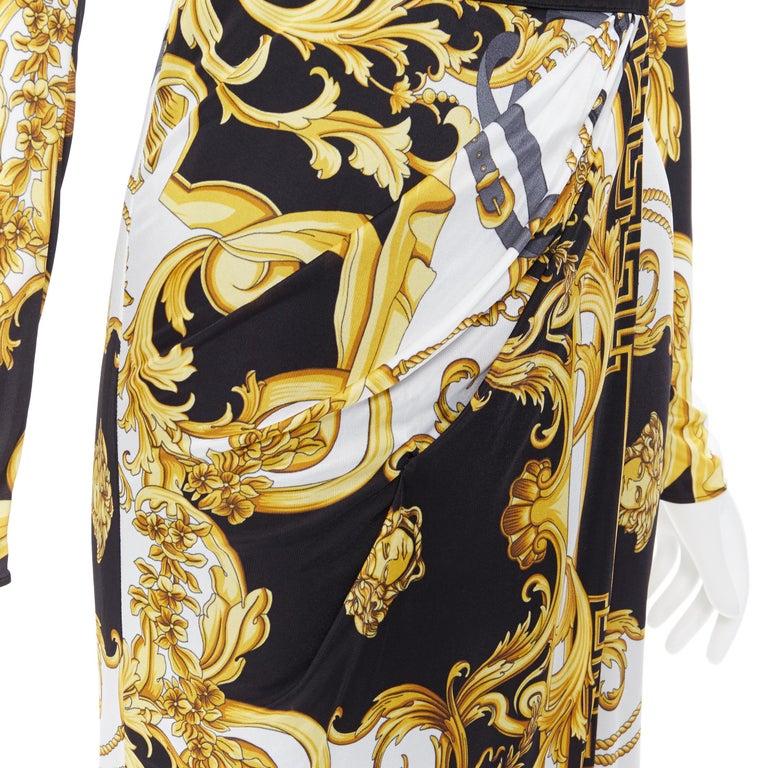 new VERSACE black gold baroque bondage strap virtus print wrap dress IT38 For Sale 2