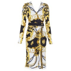 new VERSACE black gold baroque bondage strap virtus print wrap dress IT38