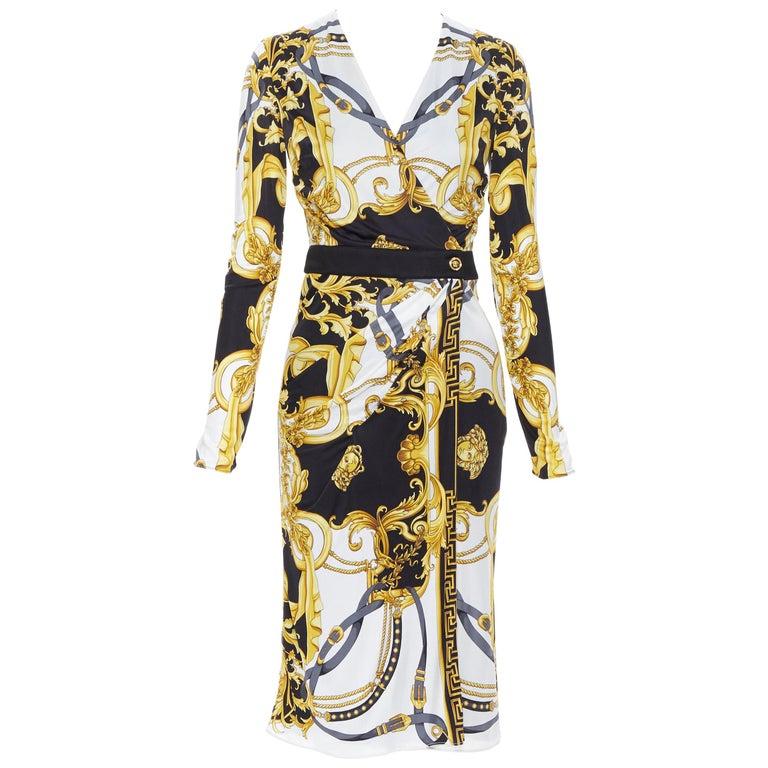 new VERSACE black gold baroque bondage strap virtus print wrap dress IT38 For Sale