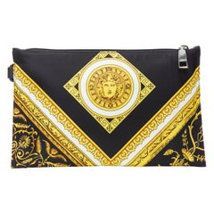 new VERSACE black gold baroque Medusa print cotton  top zip clutch pouch bag