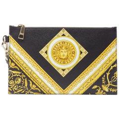 new VERSACE black gold baroque Medusa print saffiano calf leather zip clutch bag