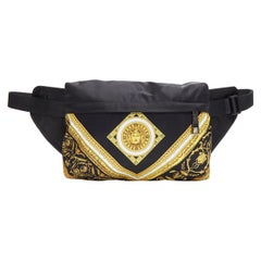 new VERSACE black gold baroque Medusa printed nylon zip front waist fanny bag