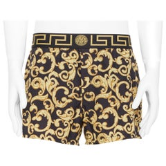 new VERSACE black gold baroque  print Greca Medusa waist band swim shorts Sz.5 L