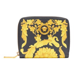 new VERSACE Black Gold Baroque print leather gold Medusa face zip around wallet