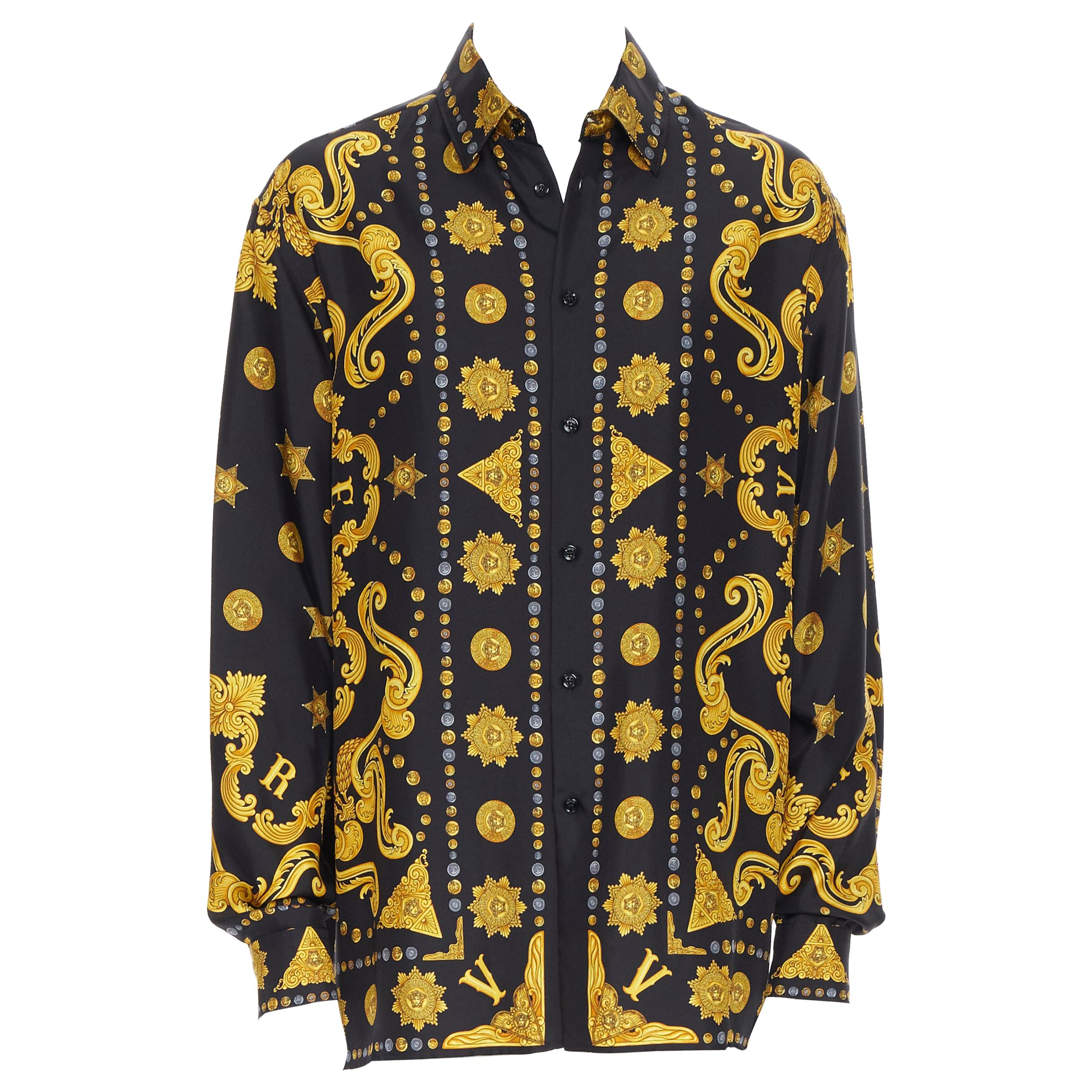 new VERSACE black gold Medusa coin western star baroque print silk shirt EU41 L
