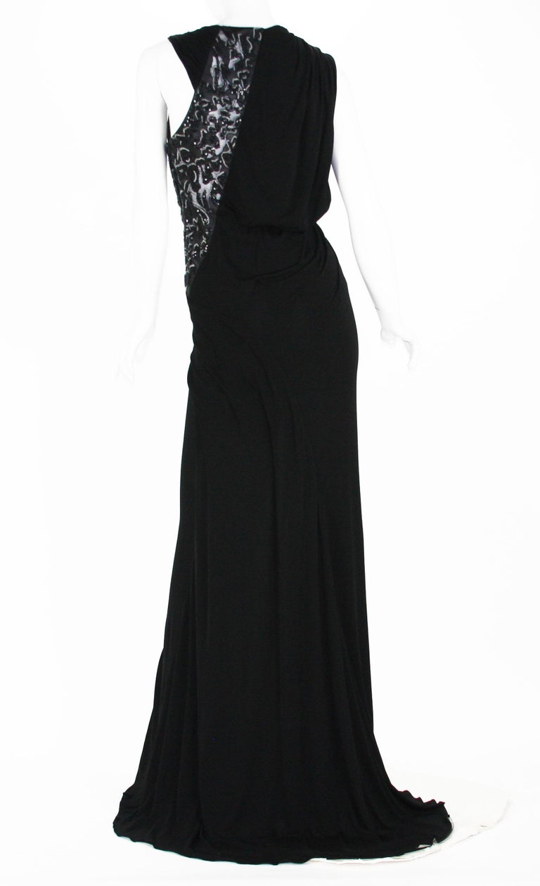 New Versace Black Jersey Leather Beads Embellished High Slit Dress Gown 40 US 6 In New Condition For Sale In Montgomery, TX