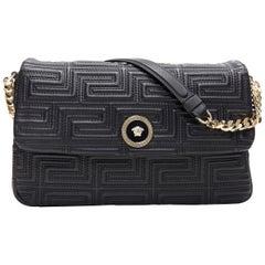 new VERSACE black lamb leather Greca stitched Medusa flap large shoulder bag