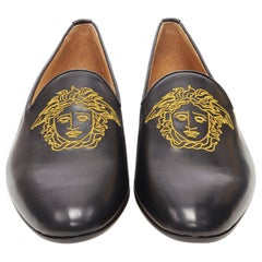 new VERSACE black leather gold Medusa embroidery le smoking slipper loafer EU45