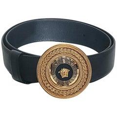 NEW VERSACE BLACK LEATHER GOLD PLATED MEDUSA Belt 90/36