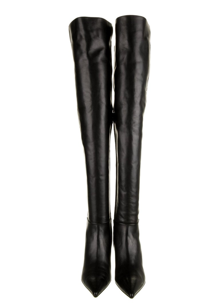 New Versace Black Leather Suede Greek Key Gold Tone Heel Over Knee Boots 38 & 39 In New Condition For Sale In Montgomery, TX