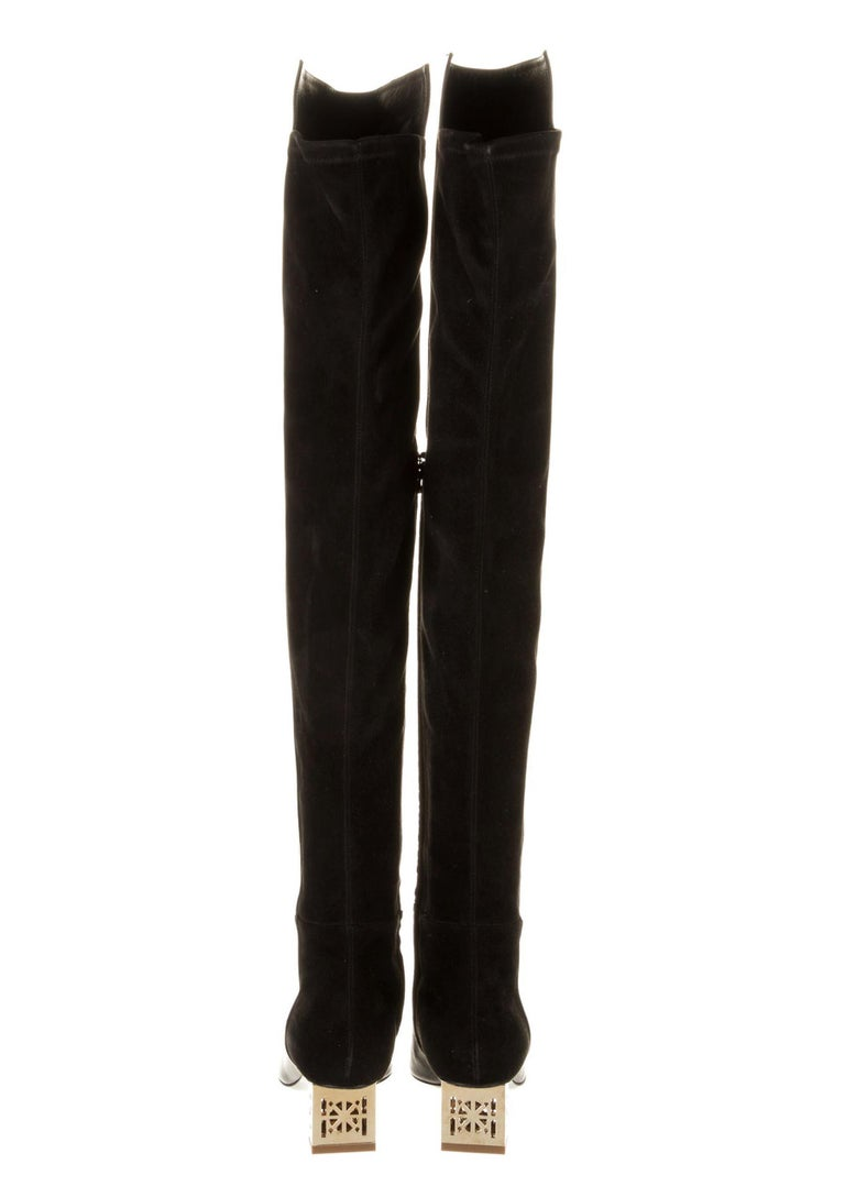 Women's New Versace Black Leather Suede Greek Key Gold Tone Heel Over Knee Boots 38 & 39 For Sale