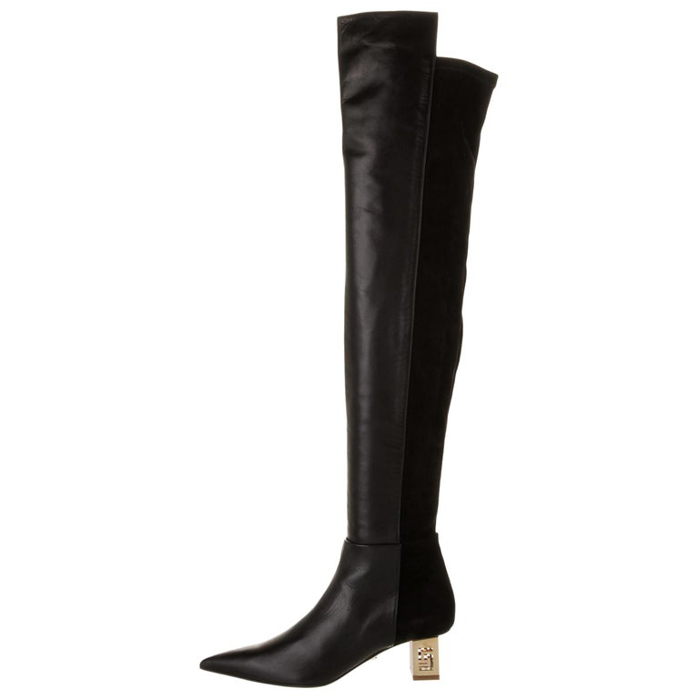 New Versace Black Leather Suede Greek Key Gold Tone Heel Over Knee Boots 38 & 39 For Sale