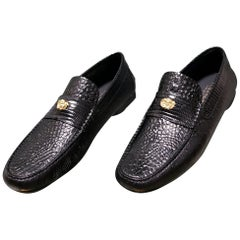 NEW VERSACE BLACK OSTRICH and CROCODILE PRINT LEATHER CITY LOAFER SHOES 46 - 13