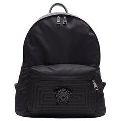 new VERSACE black Palazzo Medusa Greca nylon stitching pocket backpack bag