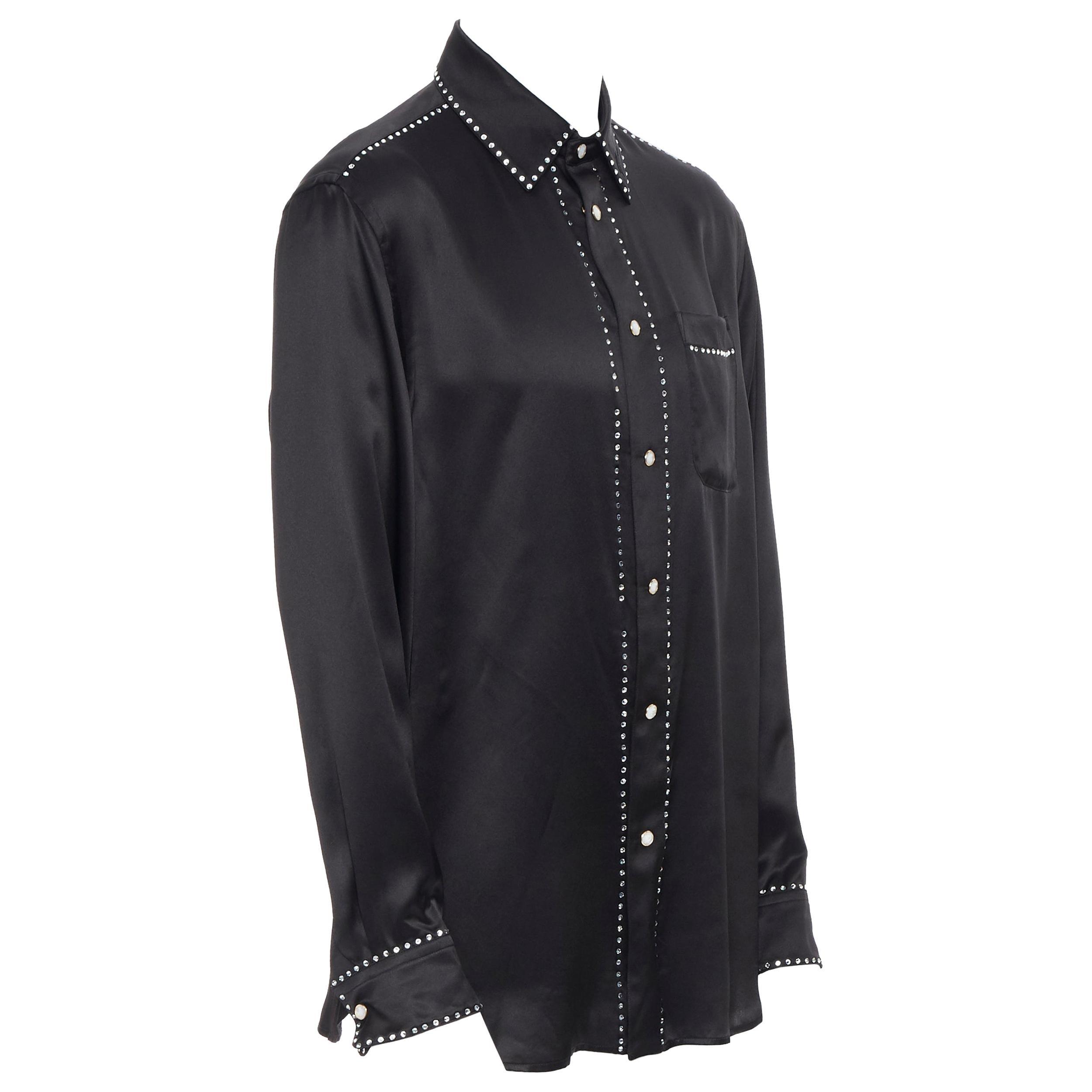new VERSACE black silk Gianni signature crystal embellished silk shirt EU39 M