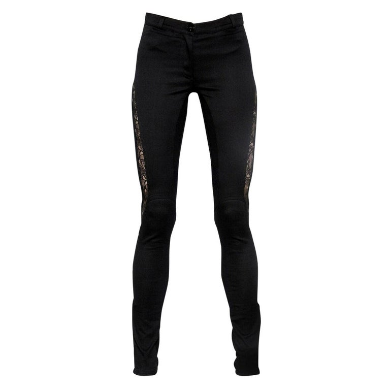 621a2ff1 New Versace Black Skinny Pants Jeans with Lace Inserts