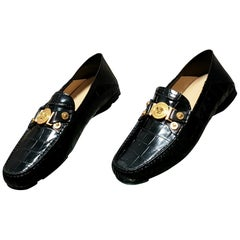 NEW VERSACE BLACK STAMPED CROCODILE LEATHER CITY LOAFER Shoes 43 - 10