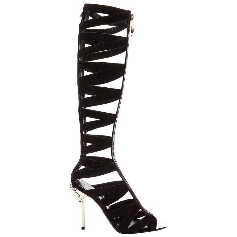 New VERSACE Black Suede Gladiator Sandal Boots For Sale