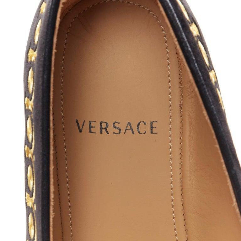 new VERSACE black vekvet Medusa baroque embroidery smoking slipper loafer EU42 For Sale 5