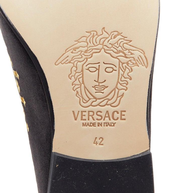 new VERSACE black vekvet Medusa baroque embroidery smoking slipper loafer EU42 For Sale 6