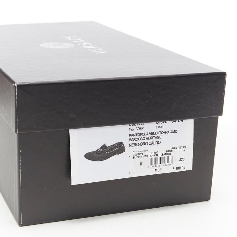 new VERSACE black vekvet Medusa baroque embroidery smoking slipper loafer EU42 For Sale 7