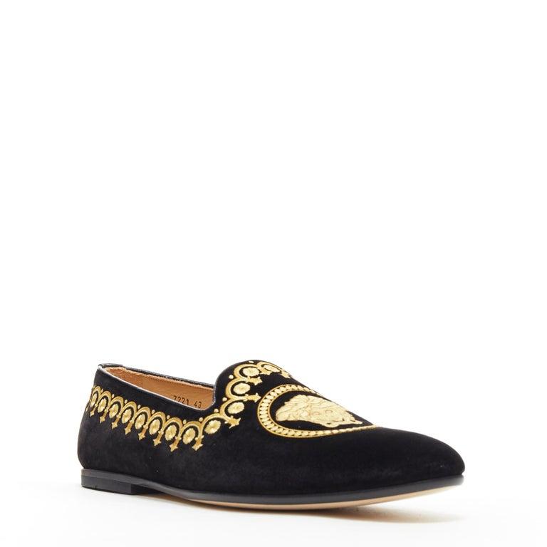 Black new VERSACE black vekvet Medusa baroque embroidery smoking slipper loafer EU42 For Sale