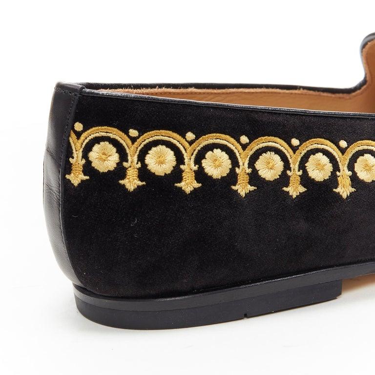 new VERSACE black vekvet Medusa baroque embroidery smoking slipper loafer EU42 For Sale 4