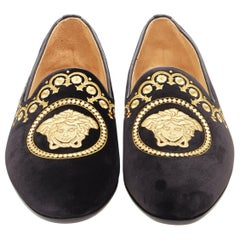 new VERSACE black vekvet Medusa baroque embroidery smoking slipper loafer EU42