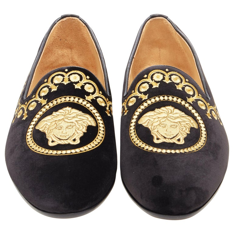 new VERSACE black vekvet Medusa baroque embroidery smoking slipper loafer EU42 For Sale