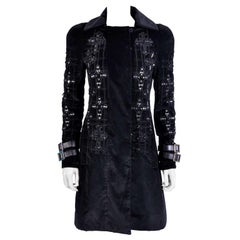 New VERSACE Black Velvet Crystal Cross Embellished Coat as seen on Donatella