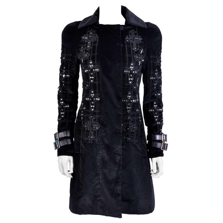 New VERSACE Black Velvet Crystal Cross Embellished Coat as seen on Donatella For Sale