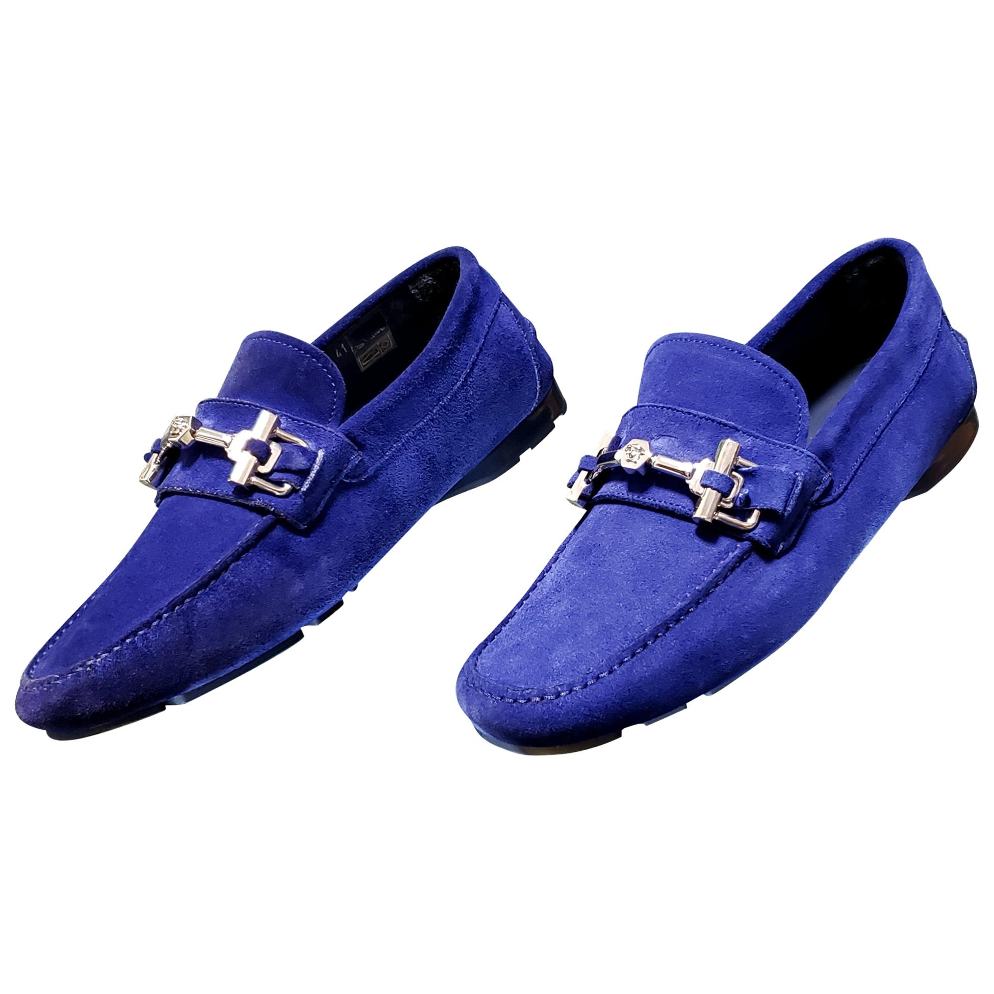 New VERSACE BLUE SUEDE LEATHER MOCCASINS 41 - 8
