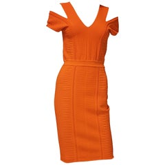 NEW VERSACE BODYCON STRETCH KNIT DRESS in ORANGE with CUT-OUT SHOULDERS 42 - 6
