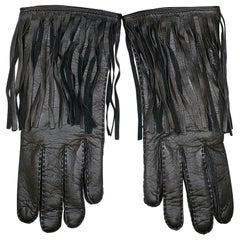 NEW VERSACE BROWN LEATHER GLOVES w/ FRINGE size S, M