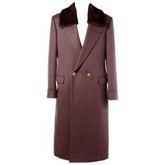 New Versace Brown Wool Coat with Mink Fur for Men