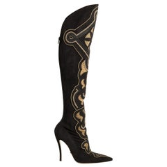 New Versace Chain  and Crystal Embellished Suede Boots Size 38