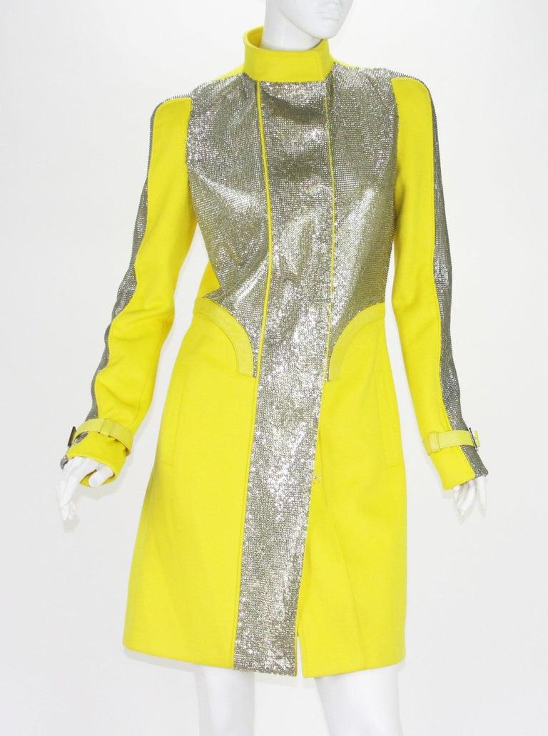 Women's New Versace Chain Mesh Panel Yellow Wool Coat It. 38 - US 4 For Sale