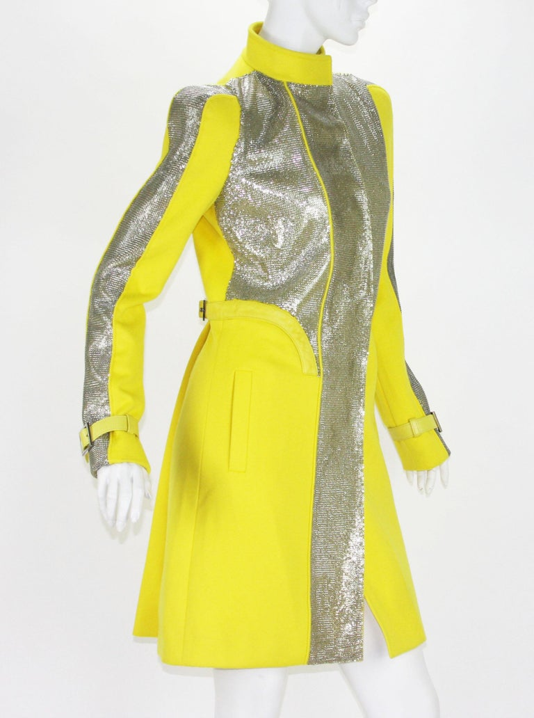 New Versace Chain Mesh Panel Yellow Wool Coat It. 38 - US 4 For Sale 1