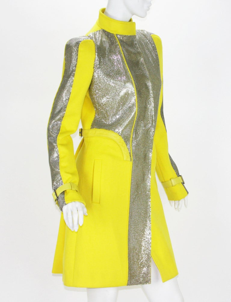 New Versace Chain Mesh Panel Yellow Wool Coat It. 38 - US 4 For Sale 2