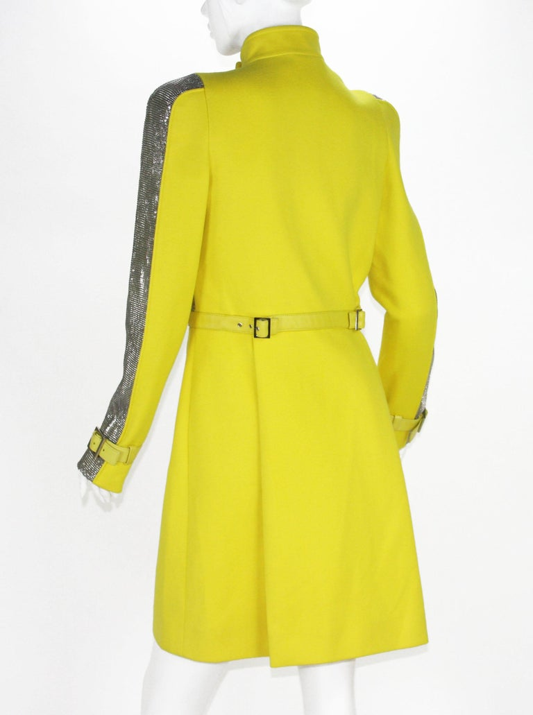 New Versace Chain Mesh Panel Yellow Wool Coat It. 38 - US 4 For Sale 3