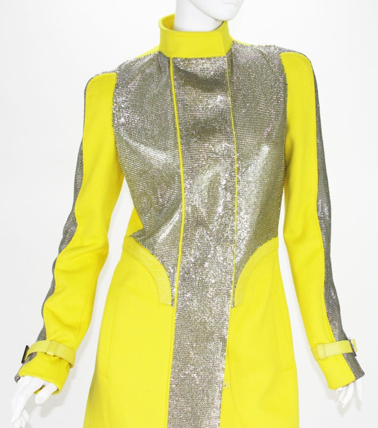 New Versace Chain Mesh Panel Yellow Wool Coat It. 38 - US 4 For Sale 4