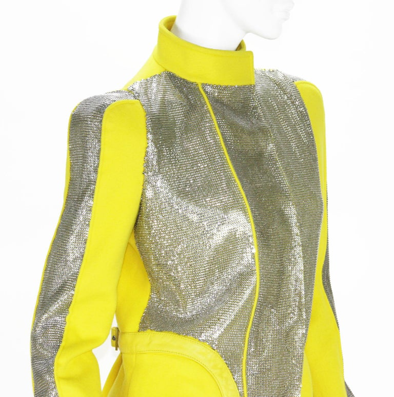 New Versace Chain Mesh Panel Yellow Wool Coat It. 38 - US 4 For Sale 5