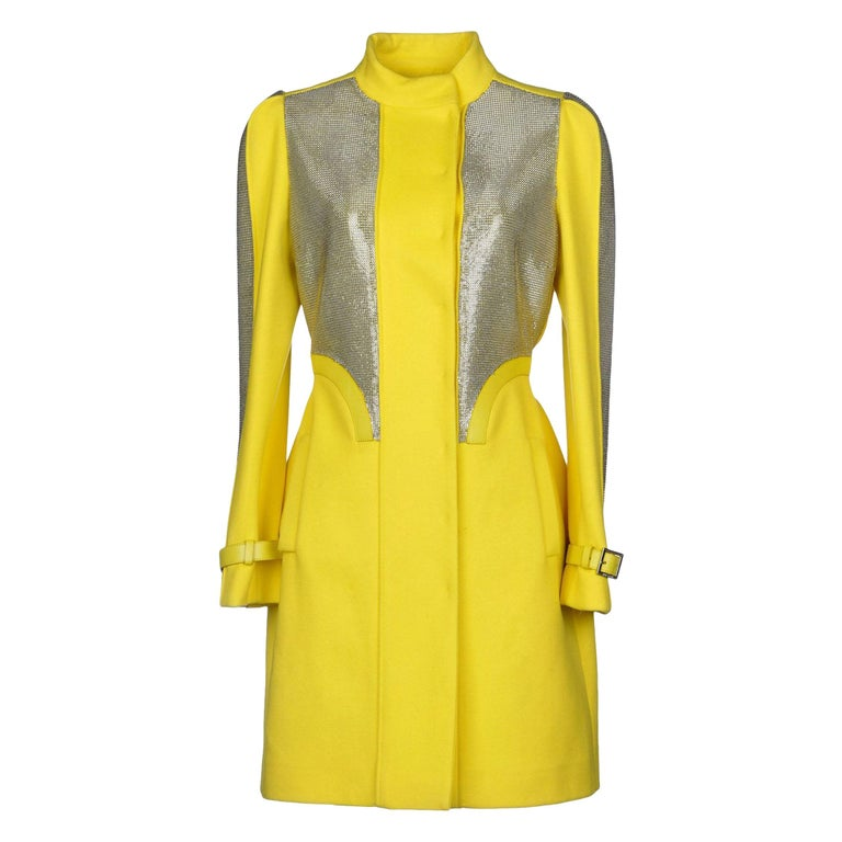 New Versace Chain Mesh Panel Yellow Wool Coat It. 38 - US 4 For Sale