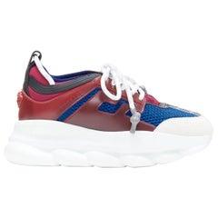 new VERSACE Chain Reaction burgundy grey suede blue mesh chunky dad sneaker EU37