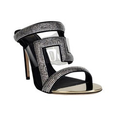 New VERSACE CLEAR VINYL PVC CRYSTAL EMBELLISHED BLACK SANDALS SHOES  Size 38 - 8