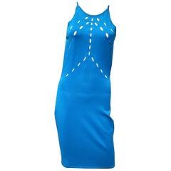 NEW VERSACE COLLECTION BLUE KNIT SLEEVELESS Dress 38 - 2