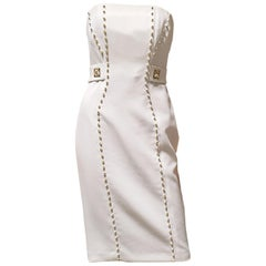 New VERSACE COLLECTION STUD EMBELLISHED WHITE DRESS 40 - 4