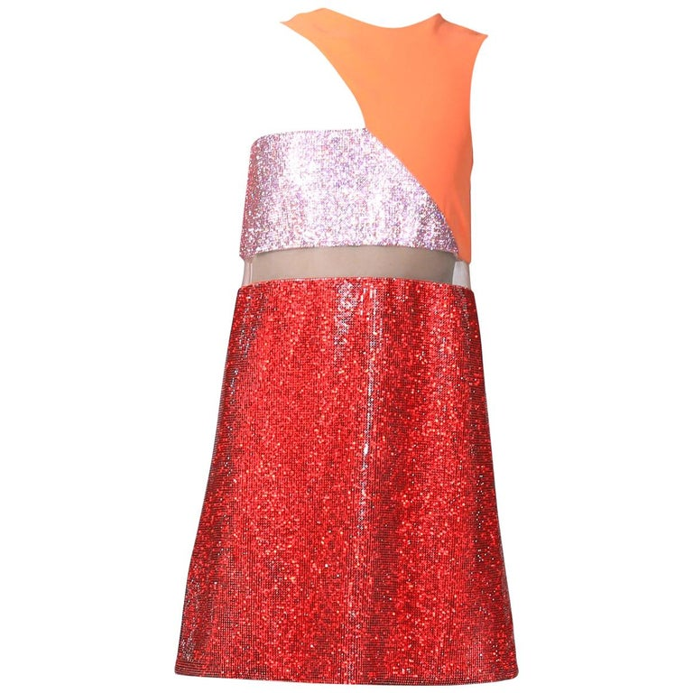 New Versace Color block Crystal Embellished Metal Mesh Dress For Sale