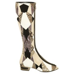 New VERSACE Crystal Embelished Python Gladiator Boots with open toe